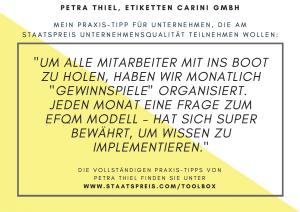 Staatspreis Tippkarte Etiketten Carini Thiel