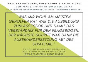 Staatspreis Tippkarte voestalpine Stahlstiftung Donke